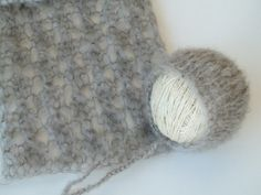 Stone Grey Mohair Knit Wrap with Holes and Bonnet Set - Newborn Baby Set - Newborn Photography Prop - Prop Mohair Set - Choose your color on Etsy, $45.96 CAD