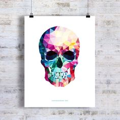 "Fine Art Print - ""Colorful Geometric Skull "" 11"" x 14"" Giclee, Abstract Skull, Anatomy print, Skull Art, Skull Decor"