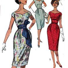Vintage 50s 60s Wiggle Dress Pattern / Slim Fit by ScarlettsVault, $24.50