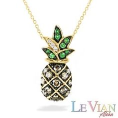 Yellow Gold Le Vian Aloha Collection Pineapple Pendant with Diamonds (Chain Included)