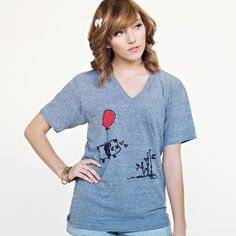 """Image of """"Flying Panda"""" V-Neck Tee from The Steppie http://shop.thesteppie.com/products"""