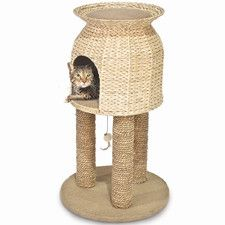 "31"" Hyacinth and Jute Scratch and Sleep Tower Cat Condo"