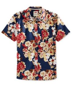 Make a statement in Levi's floral print short-sleeve shirt, featuring the cool…