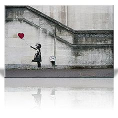 Wall26  There is Always Hope Balloon Girl By Banksy Graffiti Canvas Prints Wall Art  Canvas Wrap 12x18 -- More info could be found at the image url. Note:It is Affiliate Link to Amazon.