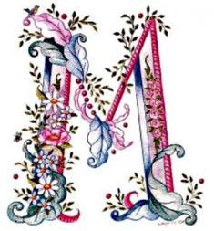 pink blue flower letter M Embroidery Alphabet, Alphabet Art, Alphabet And Numbers, Letter Art, Ribbon Embroidery, Machine Embroidery, Embroidery Designs, Fancy Letters, Floral Letters