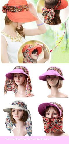 Summer Outdoor Sun Protective Gardening Hat Sun Hat Anti-UV Wide Brim Visor Cap is hot sale on Newchic. Sewing Tutorials, Sewing Patterns, Hat Storage, Sun Protection Hat, Visor Cap, Sun Hats For Women, Anti Uv, Barbie, Red Hats