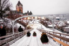 In Quebec's capital, hip and historic exist side by side, with cultural and culinary enticements for all manner of visitors. A toboggan ride heads toward the Fairmont Le Château Frontenac. Credit Renaud Philippe for The New York Times Quebec Montreal, Quebec City, Montreal Canada, Places To Travel, Places To See, Travel Destinations, Travel Stuff, Winter Wonderland, Quebec Winter Carnival