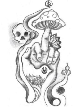 Middle finger mushroom drawing