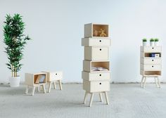 These stackable drawers function as cabinets, tables and stools.