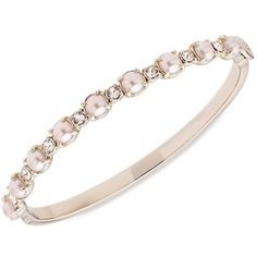 Marchesa Spring Blush Faux Pearl Bangle Bracelet ($68) ❤ liked on Polyvore featuring jewelry, bracelets, gold, fake jewelry, fake pearl jewelry, artificial jewellery, bangle bracelet and imitation jewellery