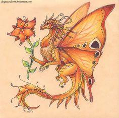 Fire butterfly dragon - no flowers Baby Dragon Tattoos, Tattoo Dragon And Phoenix, Beautiful Dragon, Dragon Artwork, O Pokemon, Dragon Pictures, Butterfly Dragon, Dragon Tattoo Designs, Fire Dragon
