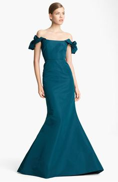 Not sure about the arms but oh how I love this color! Oscar de la Renta Fishtail Silk Gown | Nordstrom