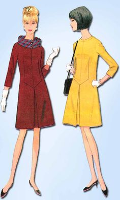 1960s Vintage McCalls Sewing Pattern 8404 Designer Mollie Parnis Dress Sz 32 B
