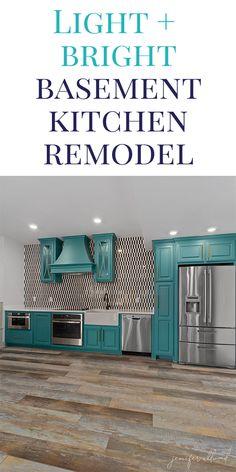 Basement Kitchen Ideas: A Light and Bright Update! - Jennifer Allwood Home Dark Basement, Basement House, Basement Kitchen, Basement Bedrooms, Small House Decorating, Decorating Tips, Home Design, One Wall Kitchen, Basement Remodeling