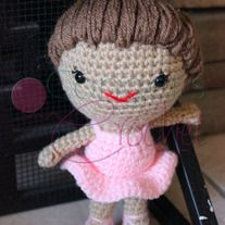 "Stands about 8.5"" tall from tip of toes to top of bun.  Can be made in any skin, hair, and dress color of your choice. Just let me know what you would like at check out!   Pattern Credit: http://www.ravelry.com/patterns/library/brisa-the-ballerina-amigurumi-pattern"