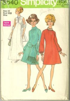 60s Simplicity 8540 Fringed Stole and Neweled Cocktail Dress womens vintage sewing pattern Pattern Size 10 Bust 32  | PatternGate - Craft Supplies on ArtFire