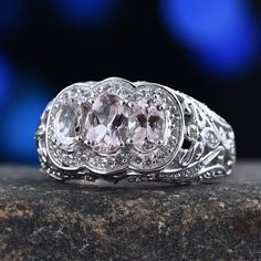 Marropino Morganite, White Topaz Platinum Over Sterling Silver Openwork Trilogy Ring (Size TGW cts. Morganite Jewelry, White Topaz, Rings For Men, Sterling Silver, Men Rings