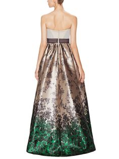 Peaked Strapless Floral Jacquard Gown by Carolina Herrera at Gilt