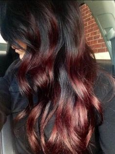 Ombre of red and dark brown