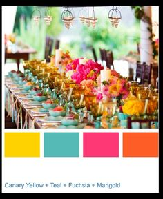 Wedding Color Palette-- we are focusing on a dark teal and the yellow most. will accent with pinks and oranges as well as other bright colors.