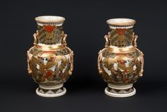 Description A pair of Japanese Satsuma pottery vases, each of ovoid form resting on a splayed foot and rising to a cylindrical neck with everted mouth, the shoulder applied with moulded ring-and-tassel handles, the whole decorated in overglaze enamels and gilding with panels of karako (Chinese boys) at play and kacho-e (bird-and-flower) subjects between bands of diapers and formal designs, bears decorator's mark to the base  Date 1900-1920  www.collectorstrade.de