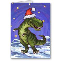 Festive Tyrannosaurus Christmas Card created by Animal Parade. This fun TRex dinosaur is all decked out for the holidays with a red Santa hat on his head and a green holly wreath with a red bow on his tail on the back. Inside is a customizable message with our festive holly wreath.