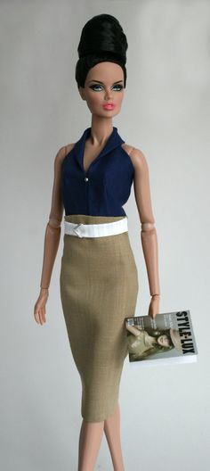 Khaki dress for Barbie Silkstone Fashion by ChicBarbieDesigns