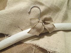 Burlap and Satin Bridal Wedding Hanger with Chantilly Lace.