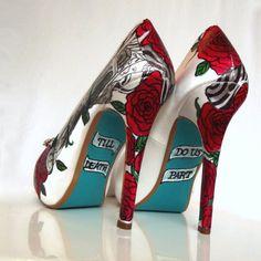 Wedding Shoes jeweled guns and roses revolver Tiffany von norakaren