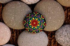 2.2x2.2 inch Hand painted mandala on river rock/mandala stone by Katy