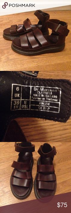Brown Leather Dr. Martens! Almost New!! Beautiful brown leather Dr. Martin Sandals. Super cool with a perfect height lift! Worn  once. They're in exceptional condition! Fits a size 8-9. Dr. Martens Shoes Sandals