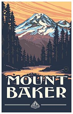 Mount Baker Travel Art Print Poster by Paul A. Lanquist (12' x 18') ** Want to know more, click on the image. (This is an affiliate link) #HashTag2