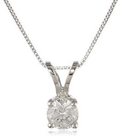 "14k White Gold Round-Cut Diamond Solitaire Pendant (1/3 cttw, H-I Color, I1-12 Clarity), 18""  http://electmejewellery.com/jewelry/necklaces/14k-white-gold-roundcut-diamond-solitaire-pendant-13-cttw-hi-color-i112-clarity-18-com/"