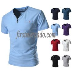 Men's Solid Color V-neck T-shirt
