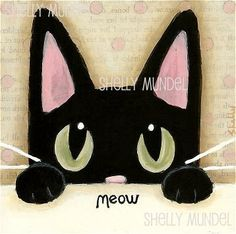 Original Black Cat Painting Hand Painted Mixed by ShellyMundelArt, $30.00