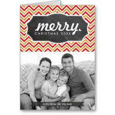 PERSONALIZED FAMILY PHOTO HOLIDAY GREETING CARD modern chevron in gold glitter and red pattern... Have yourself a trendy little christmas this year with these DIY templates available for purchase - you customize them yourself!