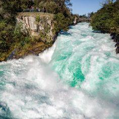 "Huka Falls, Taupo, New Zealand - NIWA New Zealand (@niwa_science) on Instagram: ""About 220,000 litres of water exits Huka Falls every second.  Near Huka Lodge, New Zealand #NZ_waterfalls #hukafalls_NZ"