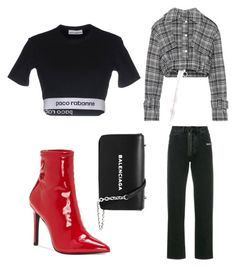 """Red boots"" by varvara2v on Polyvore featuring мода, Off-White, Jessica Simpson, Paco Rabanne и Balenciaga"