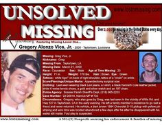 Gregory Alonzo Vice, Jr. Missing since 2000 - Taylortown LA