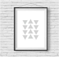 Geometric Print Geometric Wall Art Scandinavian Print Triangle Print Gray Print Gray Wall Art Gray Decor Scandinavian Wall Art Nursery Art