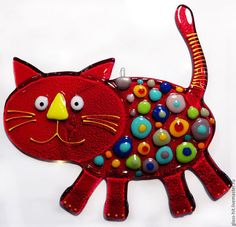 Красный кот -подвеска.Стекло. Фьюзинг.