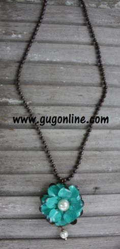 Long Rust Chain with Turquoise and Pearl Metal Flower www.gugonline.com $32.95