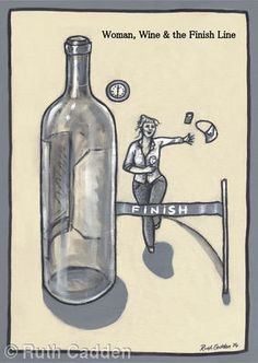 Woman, Wine and the Finish Line - Giclee Print Woman Wine, Finish Line, Giclee Print, Bottle, Artwork, Women, Football Pitch, Work Of Art, Auguste Rodin Artwork