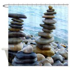 Zen pebble towers Shower Curtain