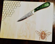 Bumblebee serving/cutting board by PurplePorchCo on Etsy, a global marketplace of handmade, vintage and creative goods.#bumblebee #cuttingboard #servingboard #pyrography