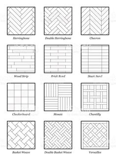 Illustration of Parquet patterns - collection of most popular flooring samples with names - isolated outline vector illustration on white background. vector art, clipart and stock vectors. Tile Layout Patterns, Floor Patterns, Subway Tile Patterns, Shower Tile Patterns, Floor Design, Tile Design, House Design, Window Grill Design, Interior Design Sketches