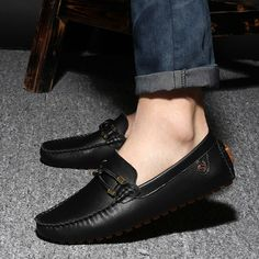 Tienda Online 2015 Sale black genuine leather loafers mens fashion boat shoes fashion brown male platform oxford casual solid mocassin for men Mens Loafers Shoes, Leather Loafers, Loafer Shoes, Shoes Men, Leather Fashion, Fashion Shoes, Mens Fashion, Fashion Rings, Cheap Boat Shoes