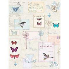 This stunning Vintage Postcard Wallpaper by Windsor Wallcoverings has an elegant shabby chic theme. Ideal for feature walls and entire rooms. Vintage Style Wallpaper, Shabby Chic Wallpaper, Dog Wallpaper, Glitter Wallpaper, Shabby Chic Theme, Designer Wallpaper, Wallpaper Designs, Wallpaper Ideas, Pretty Birds