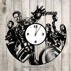 Avengers decal and vinyl record clock decoration
