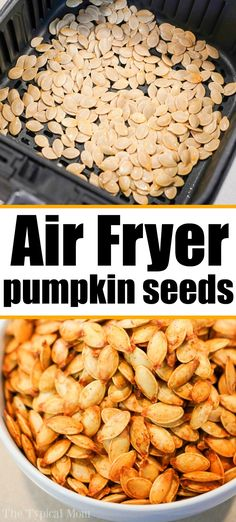 Air fryer pumpkin seeds are easy to make and SO much better than store bought! I… Air fryer pumpkin seeds are easy to make and SO much better than store bought! If you're ready to make crispy homemade pumpkin seeds at home, this is how! Air Fryer Recipes Breakfast, Air Fryer Oven Recipes, Air Fryer Dinner Recipes, Recipes For Airfryer, Airfryer Breakfast Recipes, Air Fryer Chicken Recipes, Air Fryer Recipes Gluten Free, Recipes Dinner, Homemade Pumpkin Seeds